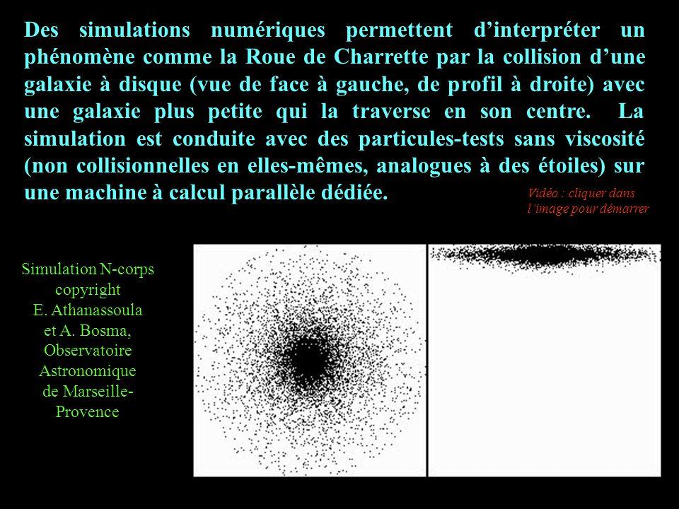 Des simulations numériques permettent d'interpréter un phénomène comme la Roue de Charrette par la collision d'une galaxie à disque (vue de face à gauche, de profil à droite) avec une galaxie plus petite qui la traverse en son centre. La simulation est conduite avec des particules-tests sans viscosité (non collisionnelles en elles-mêmes, analogues à des étoiles) sur une machine à calcul parallèle dédiée.