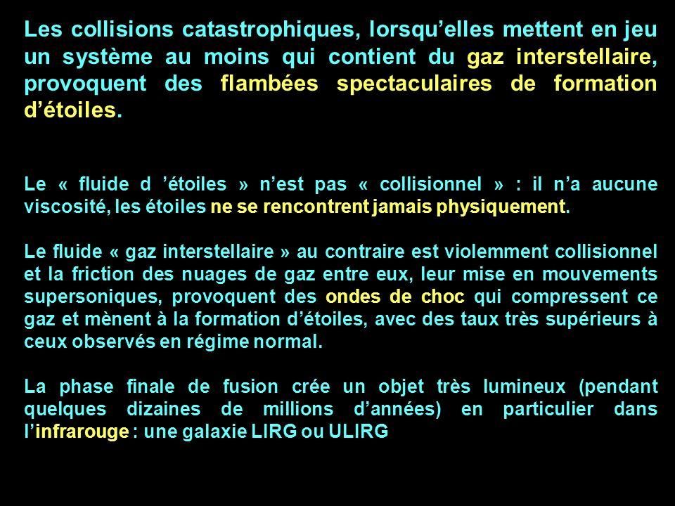 Les collisions catastrophiques, lorsqu'elles mettent en jeu un système au moins qui contient du gaz interstellaire, provoquent des flambées spectaculaires de formation d'étoiles.