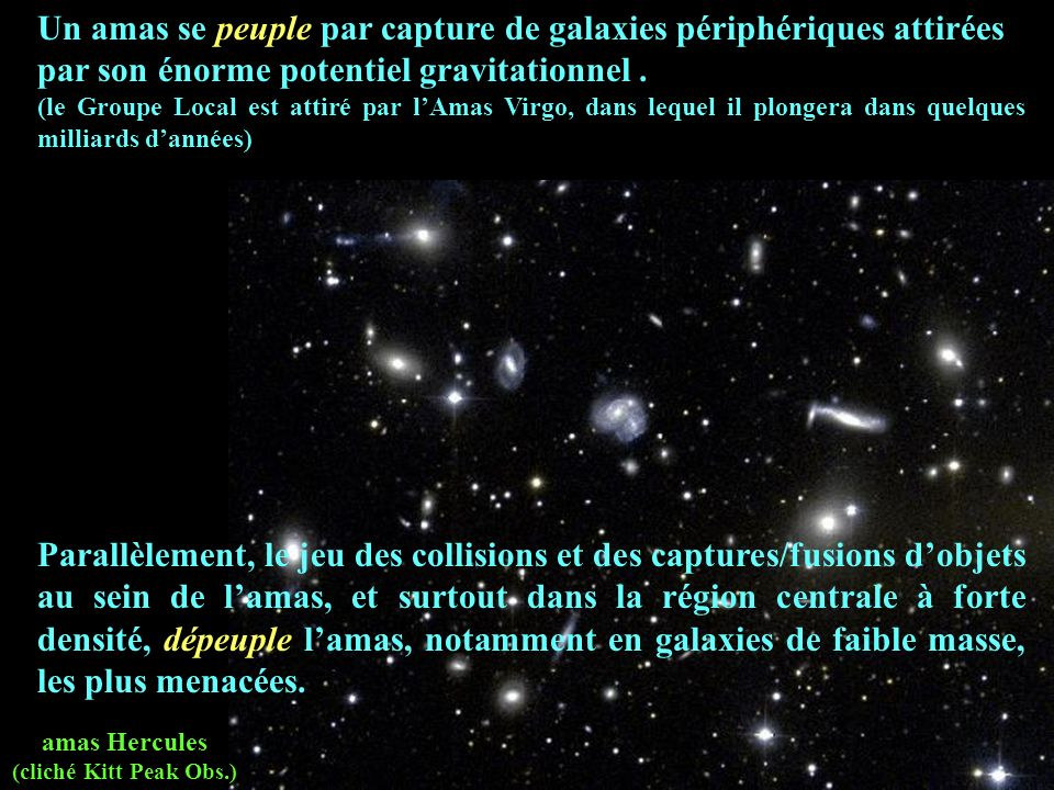 Un amas se peuple par capture de galaxies périphériques attirées par son énorme potentiel gravitationnel .