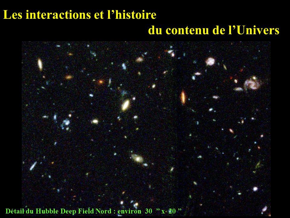 Les interactions et l'histoire du contenu de l'Univers