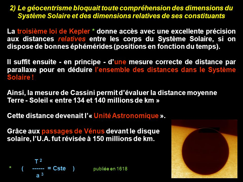 Ainsi, la mesure de Cassini permit d'évaluer la distance moyenne