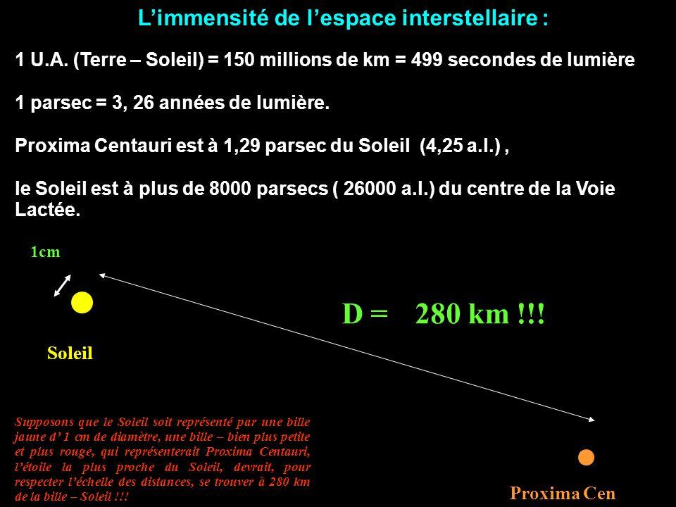 L'immensité de l'espace interstellaire :