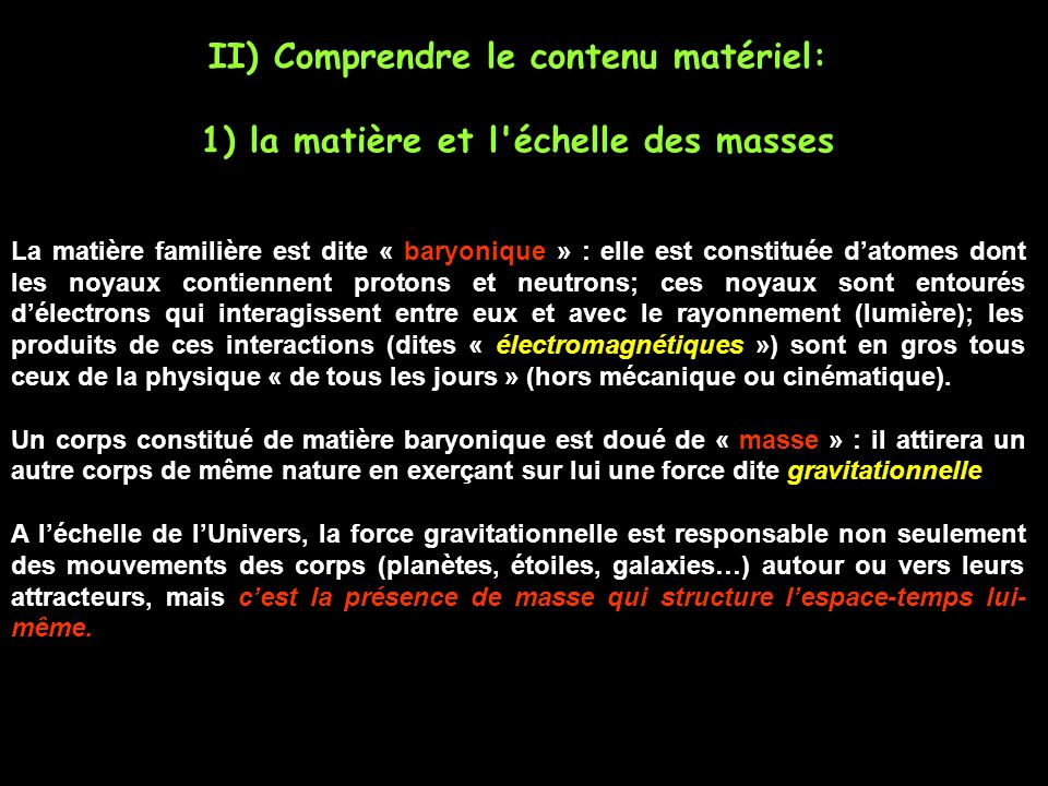 II) Comprendre le contenu matériel: