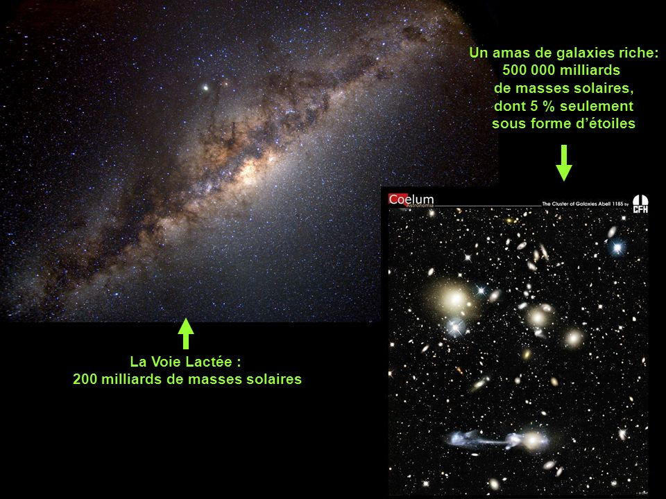 Un amas de galaxies riche: 200 milliards de masses solaires