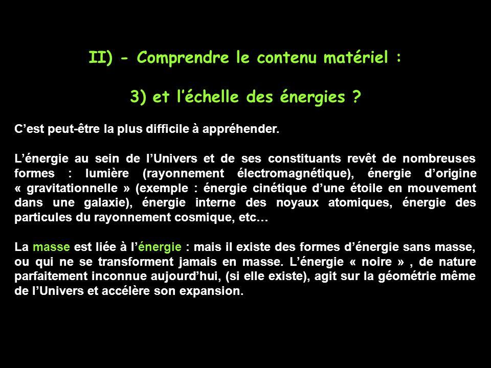 II) - Comprendre le contenu matériel : 3) et l'échelle des énergies