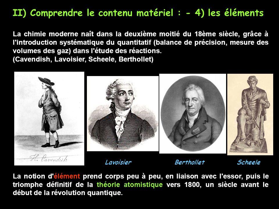 II) Comprendre le contenu matériel : - 4) les éléments