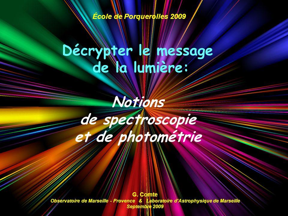 Décrypter le message de la lumière: Notions de spectroscopie