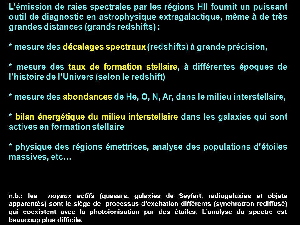 * mesure des décalages spectraux (redshifts) à grande précision,