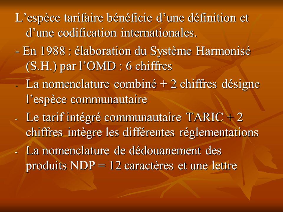 L'espèce tarifaire bénéficie d'une définition et d'une codification internationales.