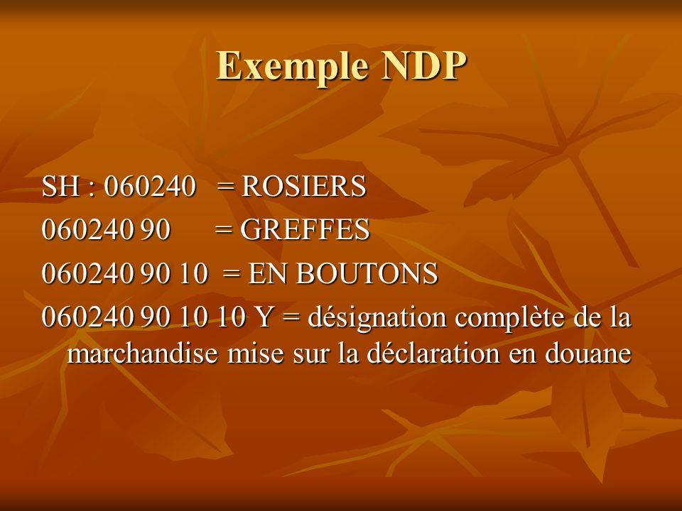 Exemple NDP SH : 060240 = ROSIERS 060240 90 = GREFFES