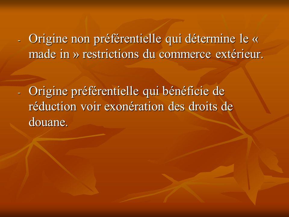 Origine non préférentielle qui détermine le « made in » restrictions du commerce extérieur.