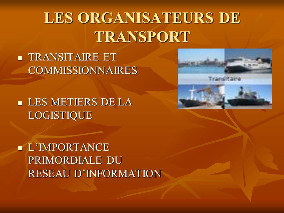 LES ORGANISATEURS DE TRANSPORT