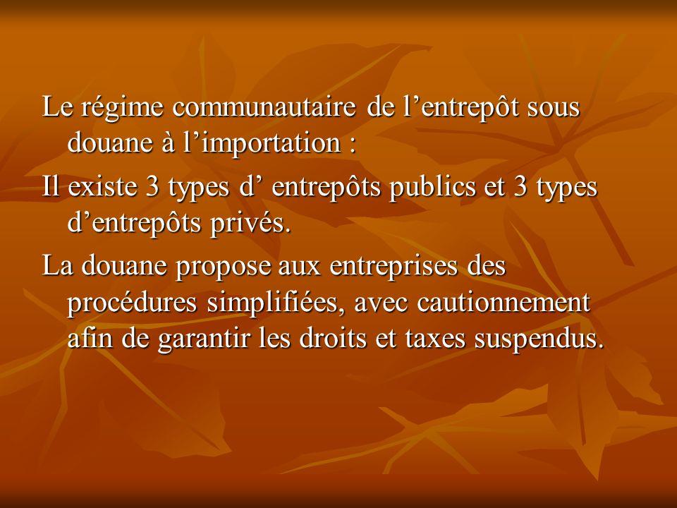 Le régime communautaire de l'entrepôt sous douane à l'importation :