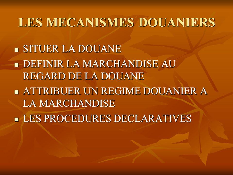 LES MECANISMES DOUANIERS