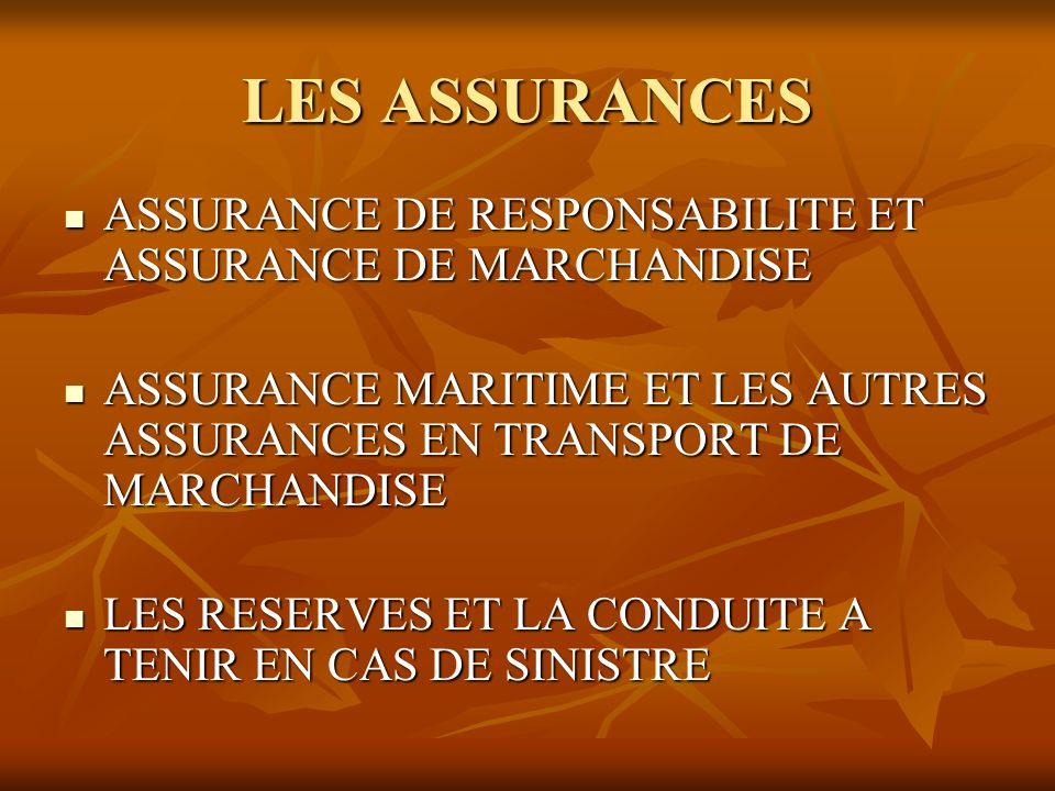 LES ASSURANCES ASSURANCE DE RESPONSABILITE ET ASSURANCE DE MARCHANDISE
