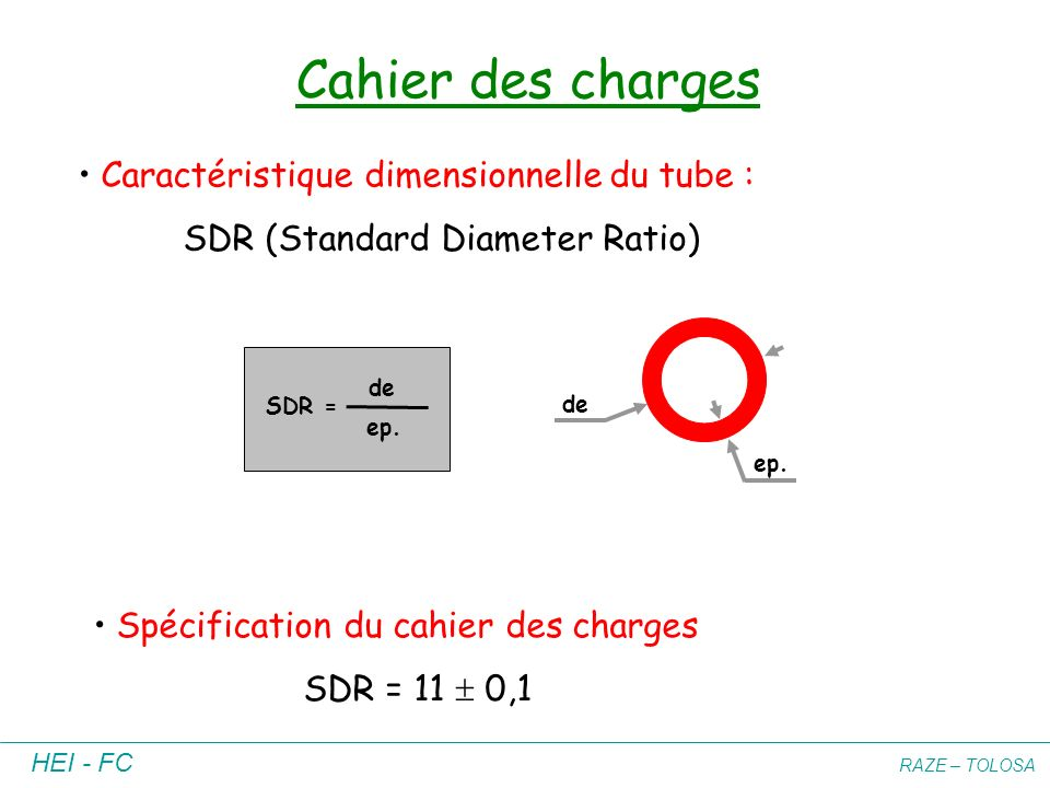 Cahier des charges Caractéristique dimensionnelle du tube :