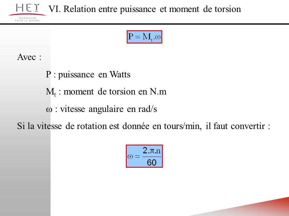 VI. Relation entre puissance et moment de torsion
