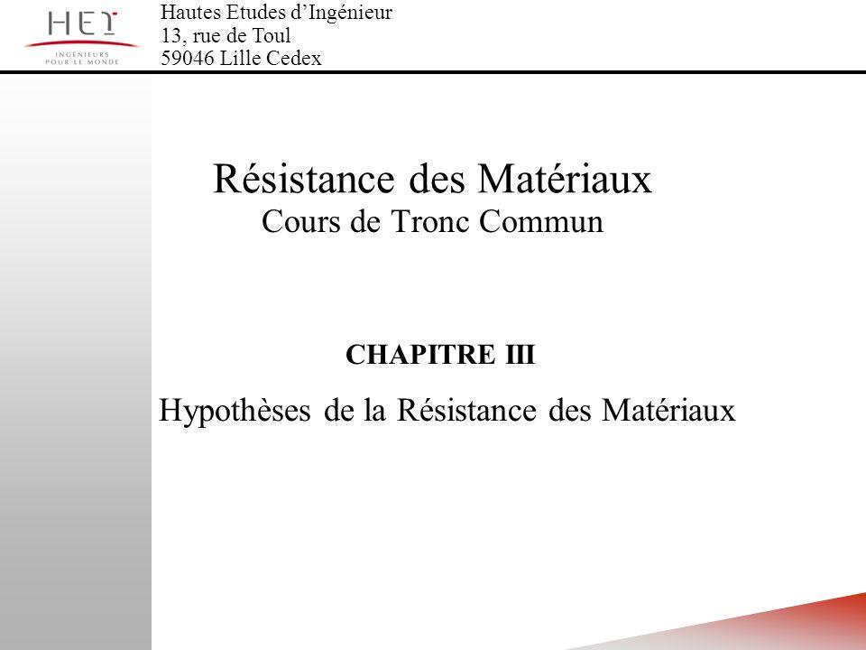CHAPITRE III Hypothèses de la Résistance des Matériaux