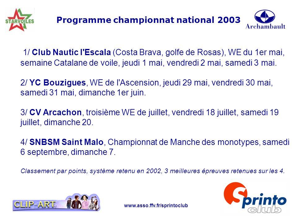 Programme championnat national 2003
