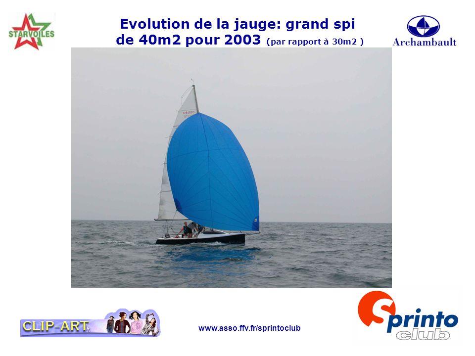 Evolution de la jauge: grand spi de 40m2 pour 2003 (par rapport à 30m2 )