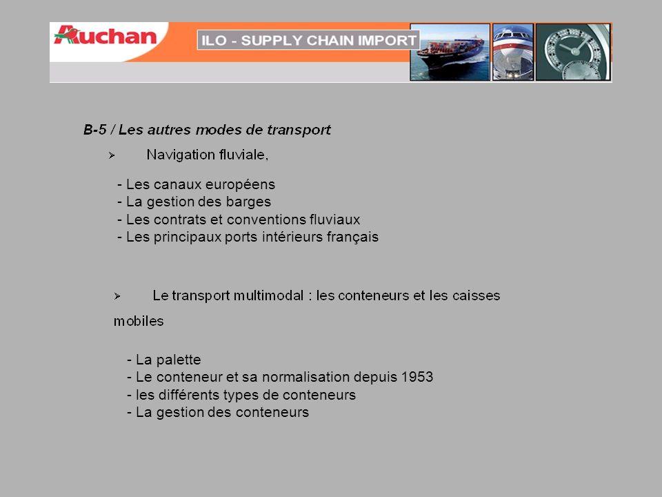 - Les canaux européens - La gestion des barges. - Les contrats et conventions fluviaux. - Les principaux ports intérieurs français.