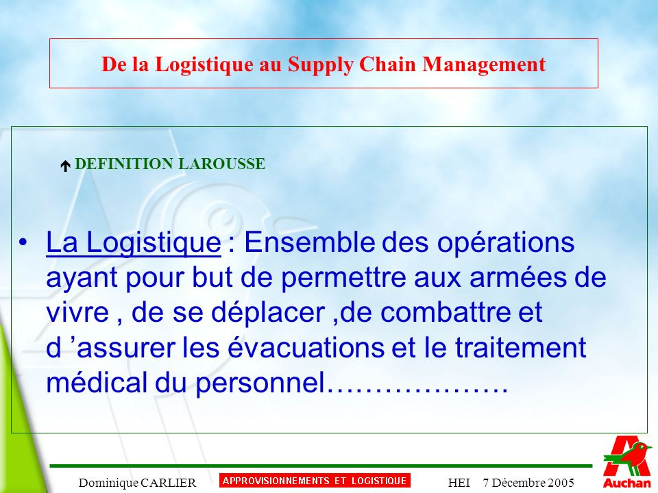 De la Logistique au Supply Chain Management