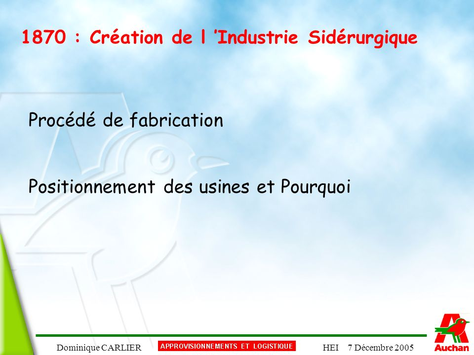 1870 : Création de l 'Industrie Sidérurgique