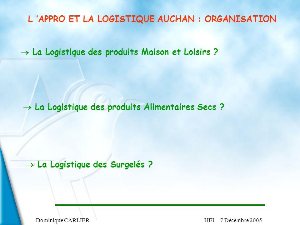 L 'APPRO ET LA LOGISTIQUE AUCHAN : ORGANISATION
