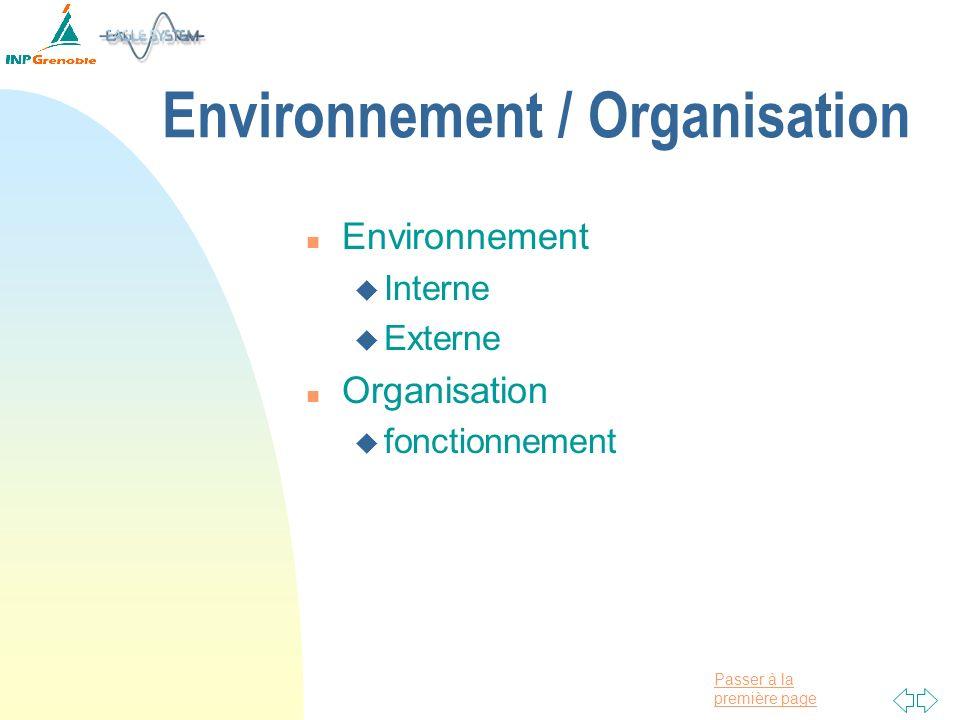 Environnement / Organisation