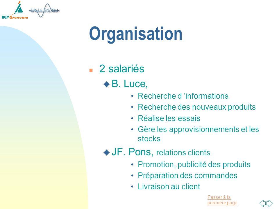 Organisation 2 salariés B. Luce, JF. Pons, relations clients