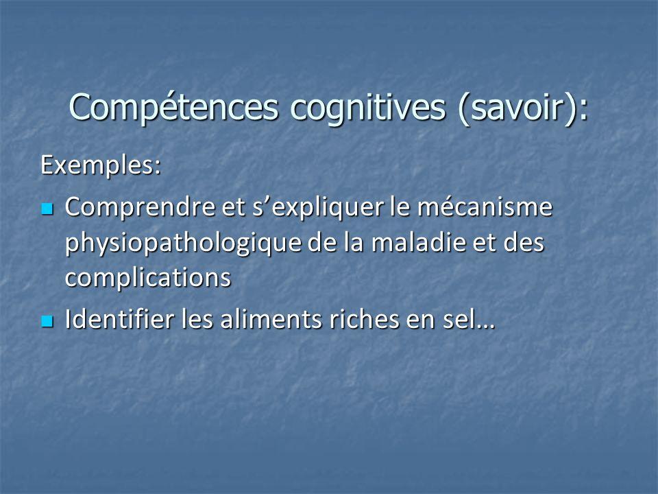 Compétences cognitives (savoir):