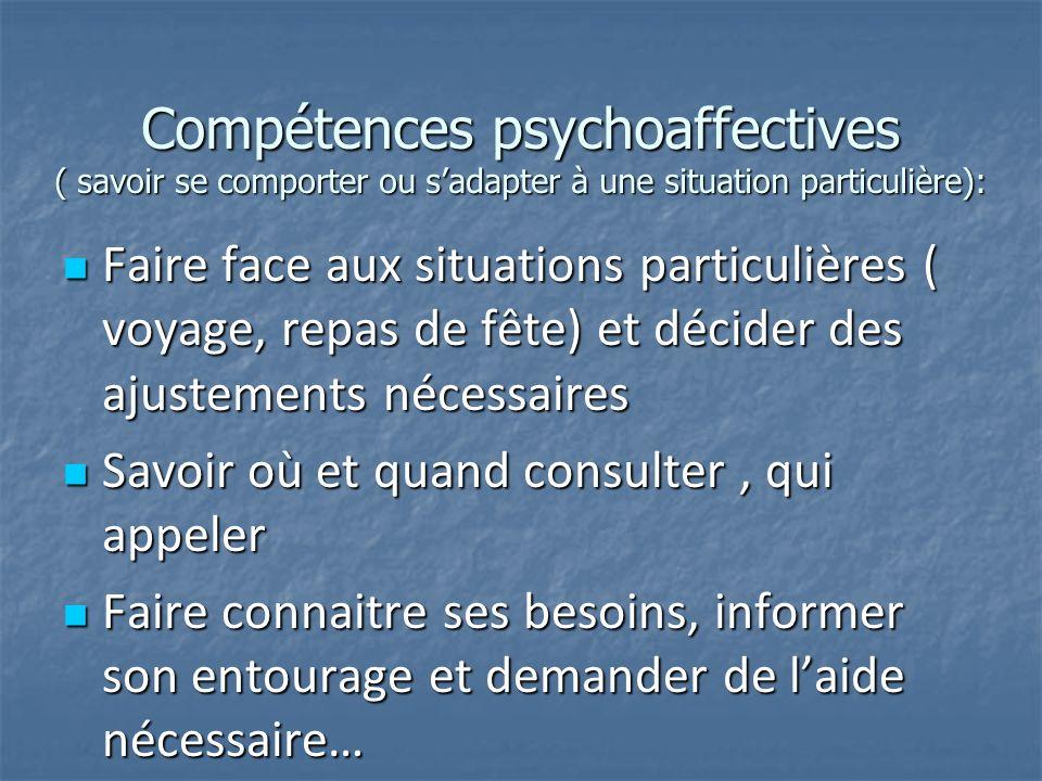 Compétences psychoaffectives ( savoir se comporter ou s'adapter à une situation particulière):
