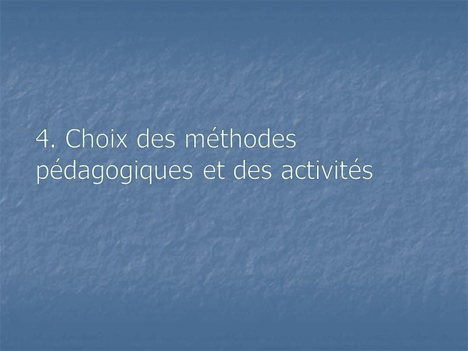 4. Choix des méthodes pédagogiques et des activités