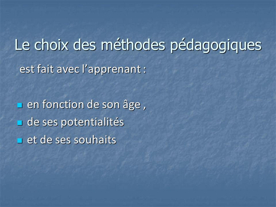 Le choix des méthodes pédagogiques