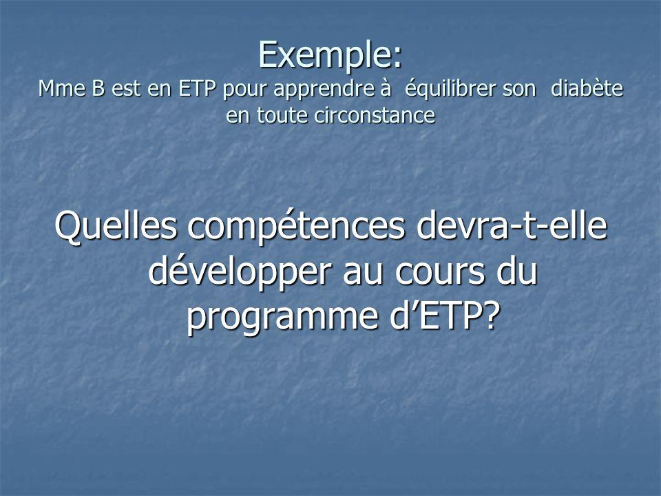 Exemple: Mme B est en ETP pour apprendre à équilibrer son diabète en toute circonstance