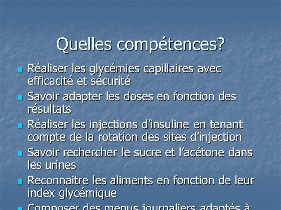 Quelles compétences Réaliser les glycémies capillaires avec efficacité et sécurité. Savoir adapter les doses en fonction des résultats.