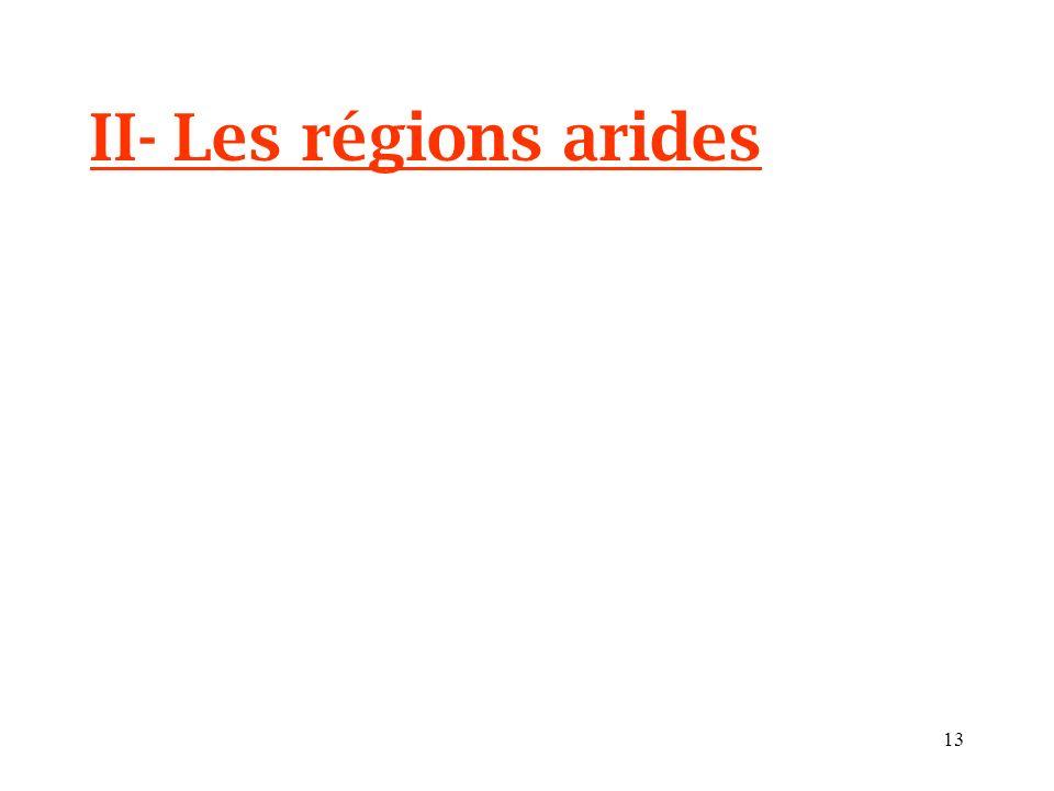II- Les régions arides