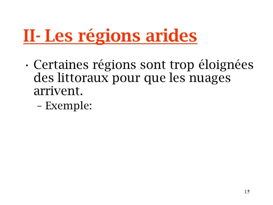 II- Les régions aridesCertaines régions sont trop éloignées des littoraux pour que les nuages arrivent.