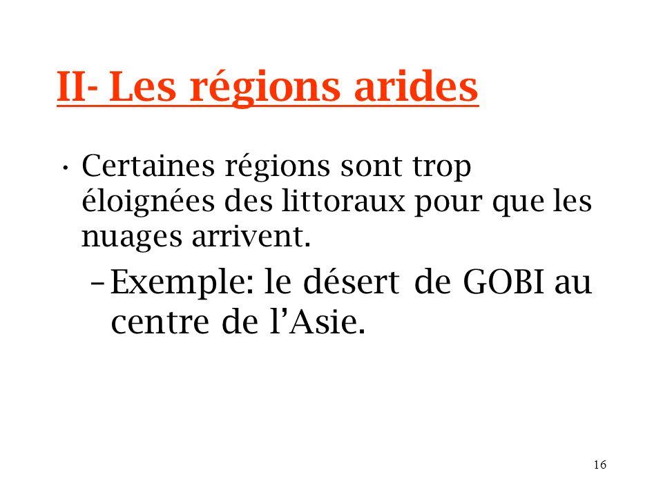 II- Les régions arides Exemple: le désert de GOBI au centre de l'Asie.
