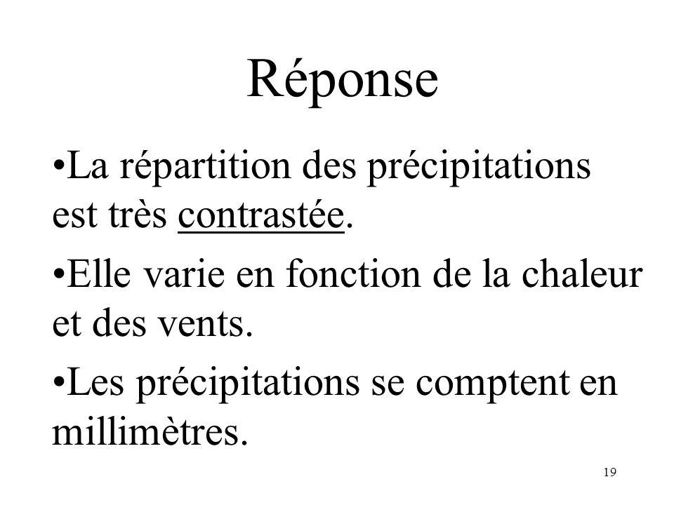 Réponse La répartition des précipitations est très contrastée.