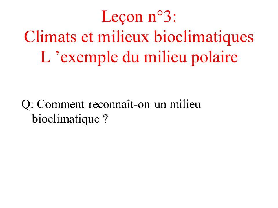 Leçon n°3: Climats et milieux bioclimatiques L 'exemple du milieu polaire
