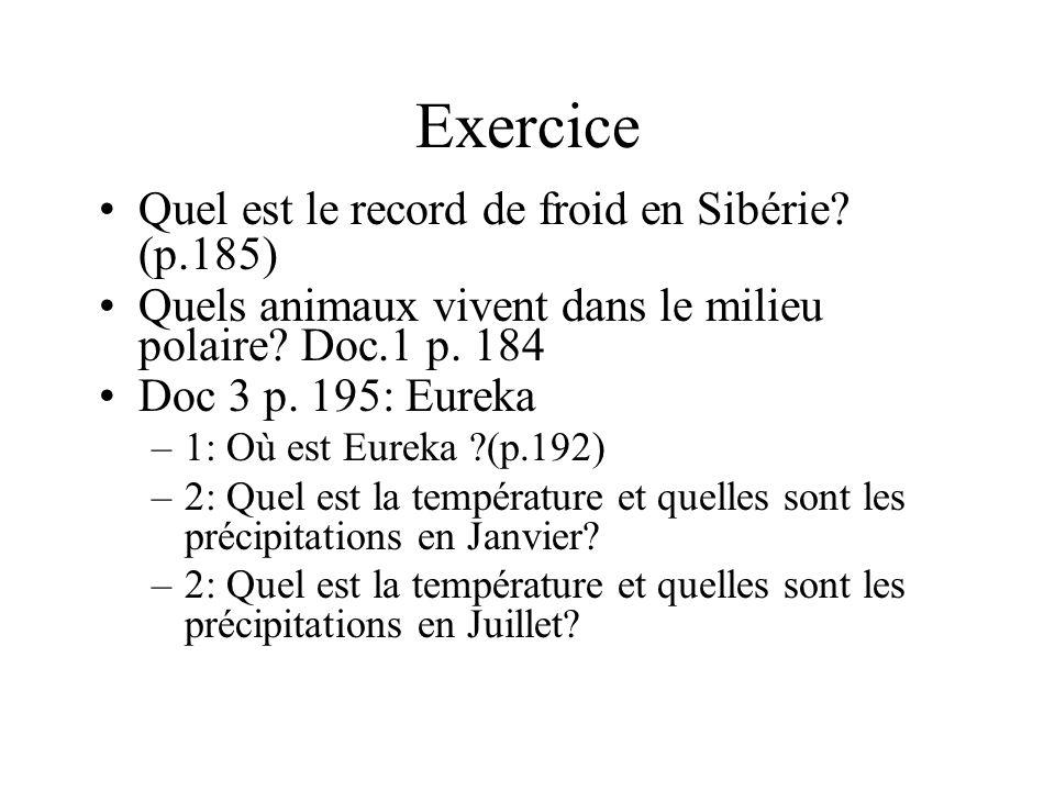 Exercice Quel est le record de froid en Sibérie (p.185)