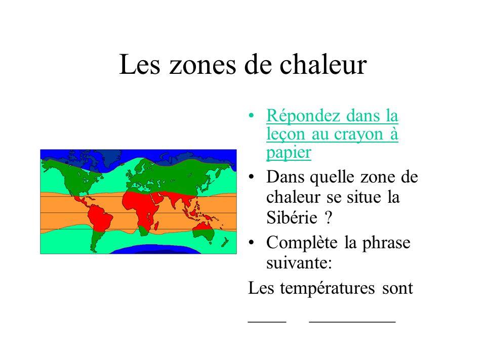 Les zones de chaleur Répondez dans la leçon au crayon à papier