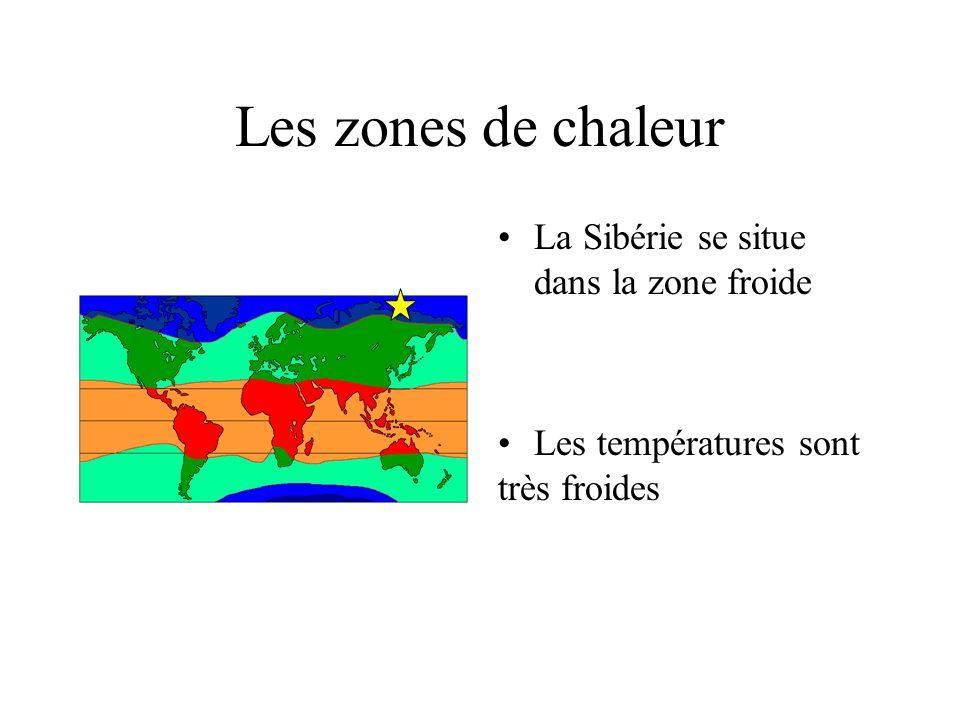 Les zones de chaleur La Sibérie se situe dans la zone froide