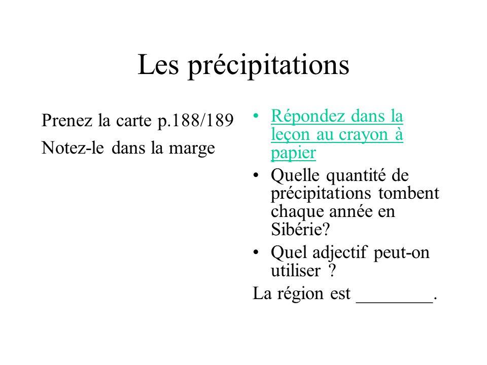 Les précipitations Prenez la carte p.188/189 Notez-le dans la marge