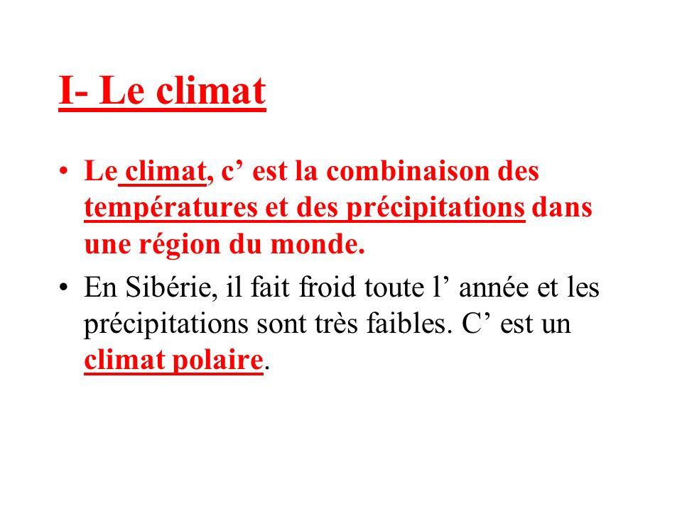 I- Le climat Le climat, c' est la combinaison des températures et des précipitations dans une région du monde.