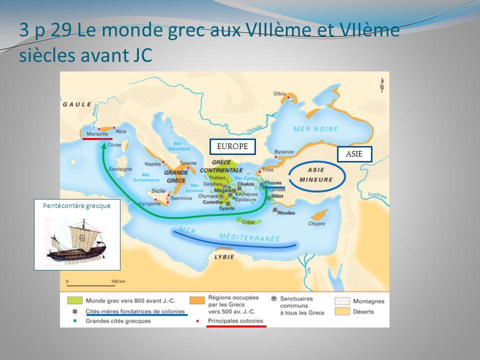 3 p 29 Le monde grec aux VIIIème et VIIème siècles avant JC