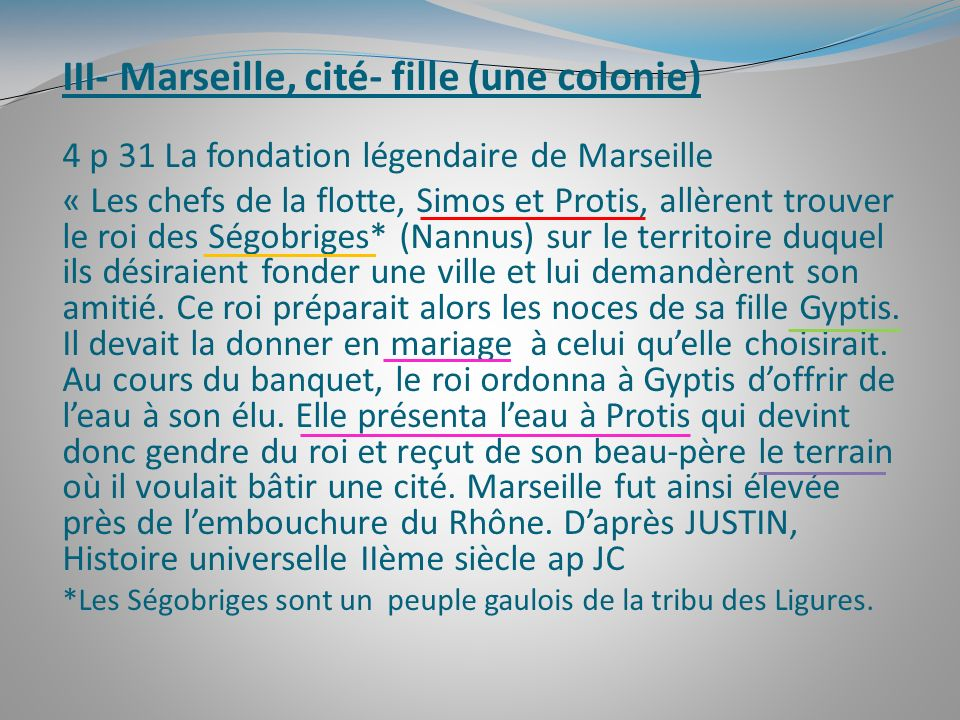 III- Marseille, cité- fille (une colonie)