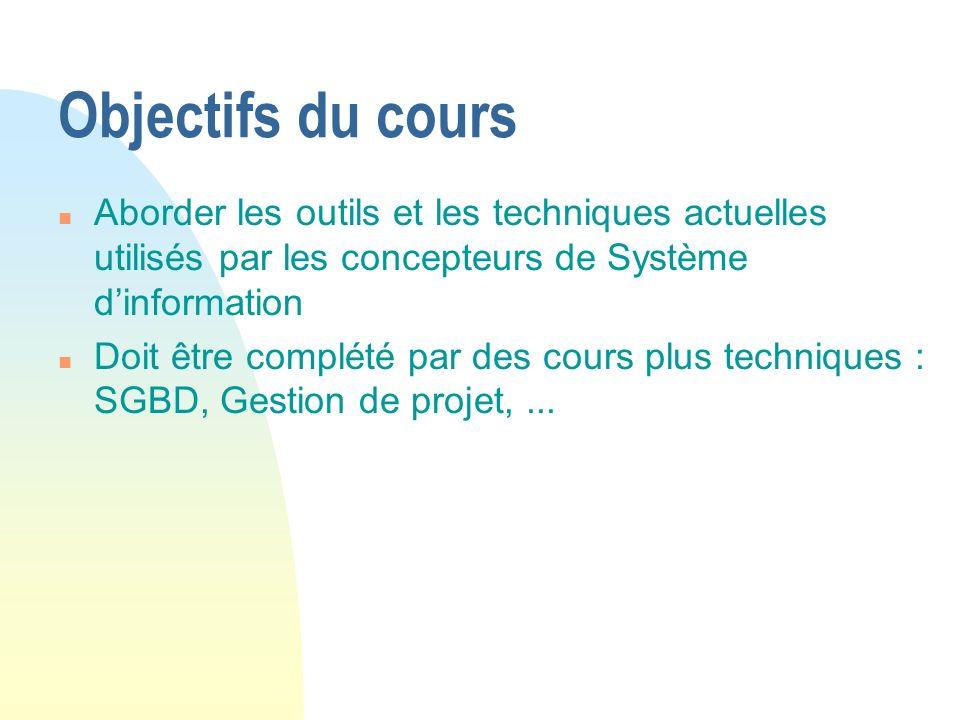 Objectifs du cours Aborder les outils et les techniques actuelles utilisés par les concepteurs de Système d'information.