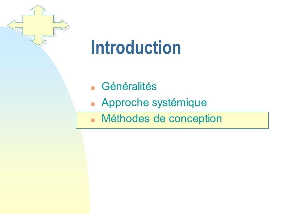 Introduction Généralités Approche systémique Méthodes de conception